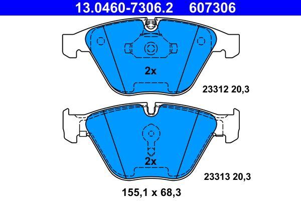 ATE  13.0460-7306.2 Bremsbelagsatz, Scheibenbremse Breite: 155,1mm, Höhe: 68,3mm, Dicke/Stärke: 20,3mm