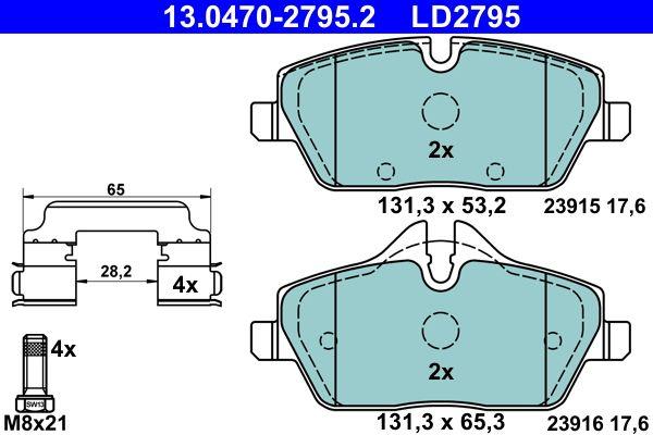 ATE Ceramic 13.0470-2795.2 Bremsbelagsatz, Scheibenbremse Breite: 131,3mm, Höhe 1: 53,2mm, Höhe 2: 65,3mm, Dicke/Stärke: 17,6mm