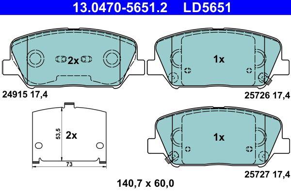 ATE Ceramic 13.0470-5651.2 Bremsbelagsatz, Scheibenbremse Breite: 140,7mm, Höhe: 60,0mm, Dicke/Stärke: 17,4mm