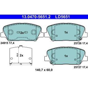 Bremsbelagsatz, Scheibenbremse Breite: 140,7mm, Höhe: 60,0mm, Dicke/Stärke: 17,4mm mit OEM-Nummer 58101A6A20(-)
