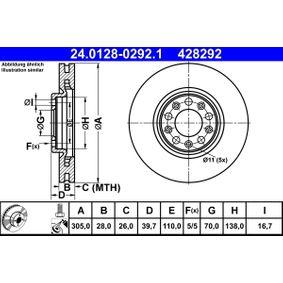 Bremsscheibe Bremsscheibendicke: 28,0mm, Lochanzahl: 5, Ø: 305,0mm mit OEM-Nummer 51937304