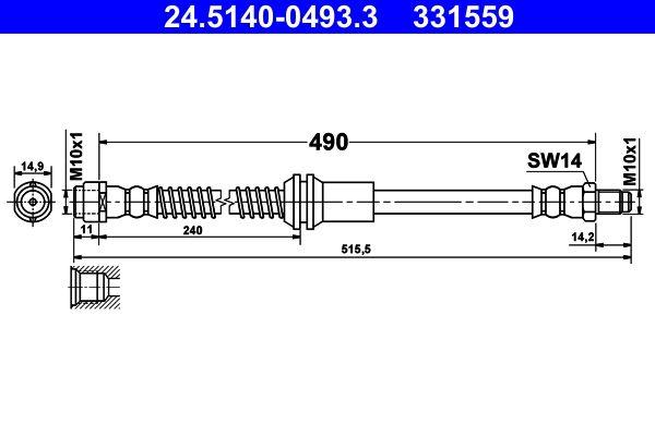 Bremsschläuche 24.5140-0493.3 ATE 331559 in Original Qualität