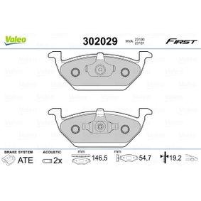 Bremsbelagsatz, Scheibenbremse Breite: 146,5mm, Höhe: 54,7mm, Dicke/Stärke: 19,2mm mit OEM-Nummer JZW698151