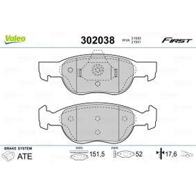 Brake Pad Set, disc brake 302038 PUNTO (188) 1.2 16V 80 MY 2006