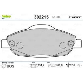 2014 Peugeot 3008 Mk1 1.6 HDi Brake Pad Set, disc brake 302215