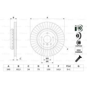 Bremsscheibe Bremsscheibendicke: 24mm, Lochanzahl: 5, Ø: 345mm mit OEM-Nummer 3421 6763 827