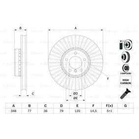 Bremsscheibe Bremsscheibendicke: 36mm, Lochanzahl: 5, Ø: 348mm mit OEM-Nummer 3411 6 779 467