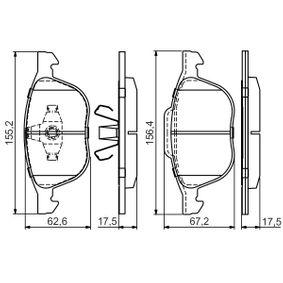 Bremsbelagsatz, Scheibenbremse Breite 1: 155,2mm, Breite 2: 156,4mm, Höhe 1: 62,6mm, Höhe 2: 67,2mm, Dicke/Stärke: 17,5mm mit OEM-Nummer 1809256