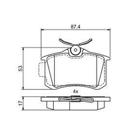 Bremsbelagsatz, Scheibenbremse Breite: 87,4mm, Höhe 1: 53mm, Höhe: 53mm, Dicke/Stärke: 17mm mit OEM-Nummer 4254 67