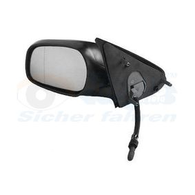 VAN WEZEL Side view mirror Left, Aspherical, Complete Mirror, Control: cable, Internal Adjustment, with mirror glass, Chrome