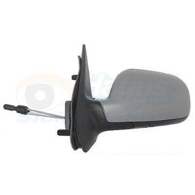 VAN WEZEL Side view mirror Left, Aspherical, Complete Mirror, Control: cable, Internal Adjustment, Primed, Chrome
