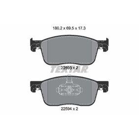 Bremsbelagsatz, Scheibenbremse Breite: 180,2mm, Höhe: 69,5mm, Dicke/Stärke: 17,3mm mit OEM-Nummer 1613260780