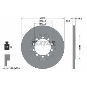 TEXTAR PRO 92152003 Bremsscheibe Bremsscheibendicke: 16,0mm, Ø: 280mm