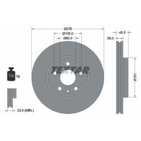 Bremsscheibe Bremsscheibendicke: 26,0mm, Ø: 276mm mit OEM-Nummer 509 069