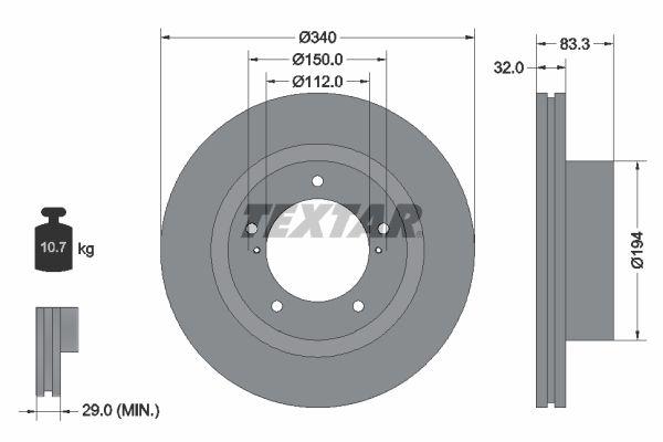 TEXTAR  92204600 Bremsscheibe Bremsscheibendicke: 32mm, Ø: 340mm