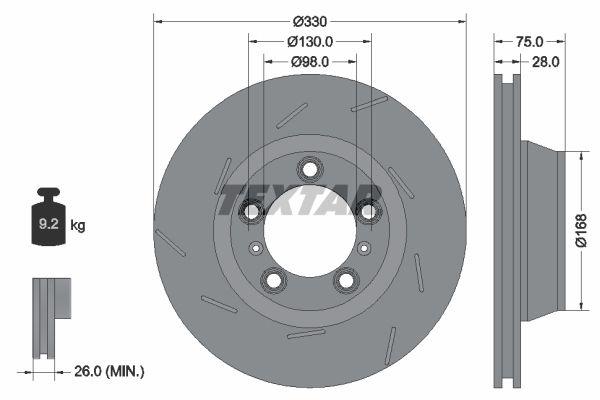 TEXTAR PRO+ 92220607 Bremsscheibe Bremsscheibendicke: 28mm, Ø: 330mm