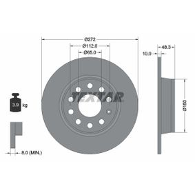 Bremsscheibe Bremsscheibendicke: 10mm, Ø: 272mm mit OEM-Nummer 8P0 098 601P