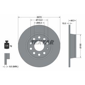 Disc frana Grosime disc frana: 10,0mm, Ř: 272mm cu OEM Numar 5QD615601A