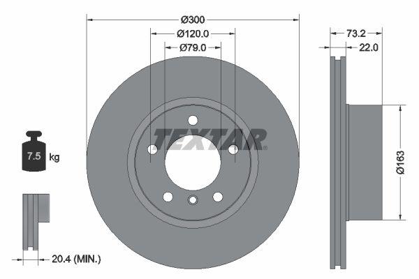 TEXTAR  92238500 Bremsscheibe Bremsscheibendicke: 22mm, Ø: 300mm