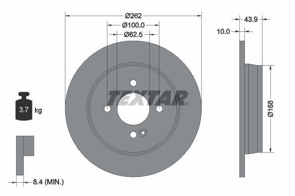 TEXTAR  92242200 Bremsscheibe Bremsscheibendicke: 10mm, Ø: 262mm