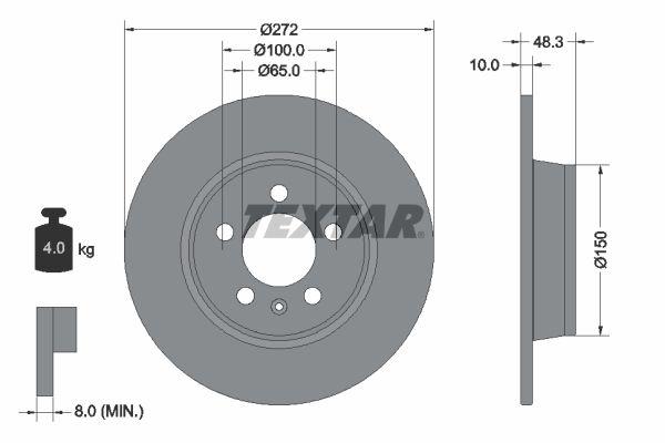 TEXTAR PRO 92292003 Bremsscheibe Bremsscheibendicke: 10mm, Ø: 272mm