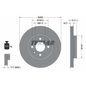 Bremsscheibe Bremsscheibendicke: 20,7mm, Ø: 259mm mit OEM-Nummer 40206-00Q0K