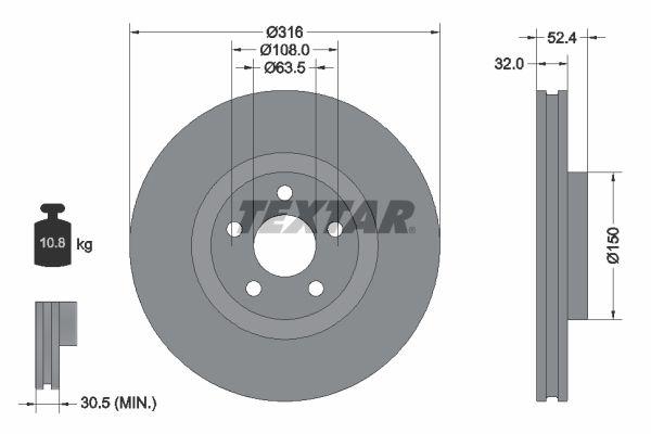 TEXTAR PRO 92293603 Bremsscheibe Bremsscheibendicke: 32mm, Ø: 316mm