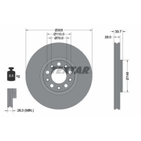 Bremsscheibe Bremsscheibendicke: 28mm, Ø: 305mm mit OEM-Nummer 519 37 304