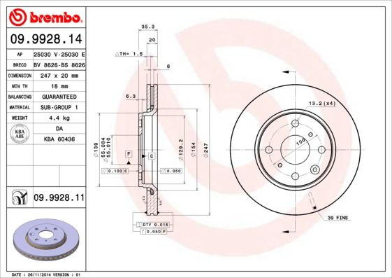 Article № 09.9928.11 BREMBO prices