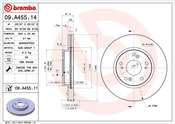 BREMBO 09.A455.11 EAN:8020584222188 Shop