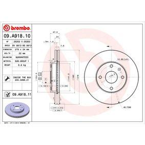 Bremsscheibe Bremsscheibendicke: 24mm, Lochanzahl: 4, Ø: 278mm mit OEM-Nummer 96 329 364