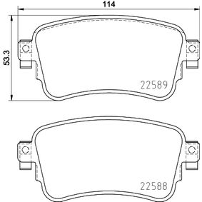 Brake Pad Set, disc brake Width: 114mm, Height: 53,3mm, Thickness: 17,4mm with OEM Number SU001 A6 136