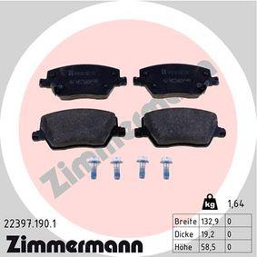 ZIMMERMANN  22397.190.1 Bremsbelagsatz, Scheibenbremse Breite: 133mm, Höhe: 58,6mm, Dicke/Stärke: 19,2mm