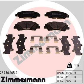 Bremsbelagsatz, Scheibenbremse Breite: 132,5mm, Höhe: 50,6mm, Dicke/Stärke: 16,6mm mit OEM-Nummer 58101-B4A00