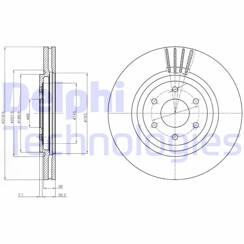 DELPHI  BG4176C Bremsscheibe Bremsscheibendicke: 28mm, Lochanzahl: 6, Ø: 320mm