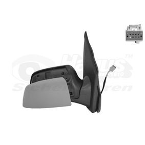 VAN WEZEL Side view mirror Left, Complete Mirror, Convex, Electronically foldable, for electric mirror adjustment, Heatable, Primed