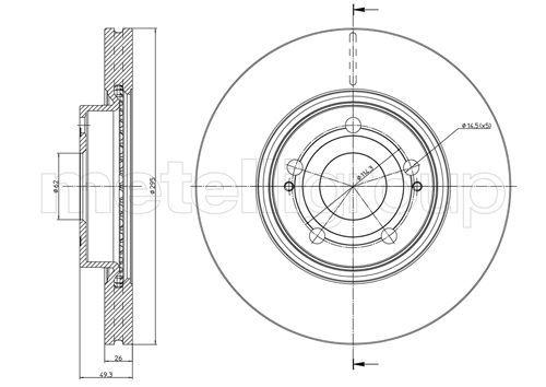 METELLI  23-0772C Bremsscheibe Bremsscheibendicke: 26,0mm, Lochanzahl: 5, Ø: 295,0mm