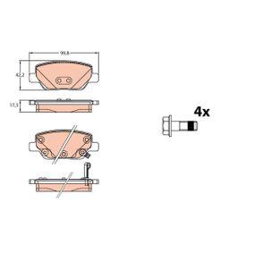 TRW  GDB2156 Bremsbelagsatz, Scheibenbremse Höhe: 42,2mm, Dicke/Stärke: 17,5mm