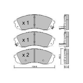 Bremsbelagsatz, Scheibenbremse Breite: 164,6mm, Höhe: 63,3mm, Dicke/Stärke: 17,5mm mit OEM-Nummer 58101-4HA00
