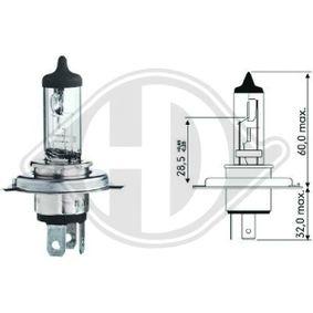 Крушка с нагреваема жичка, фар за дълги светлини H4, 55ват, 60ват, 12волт LID10010 VW GOLF, PASSAT, POLO