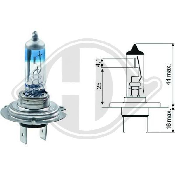 DIEDERICHS Xenon Look 3.540�K +50% More Light LID10020 Glühlampe, Fernscheinwerfer
