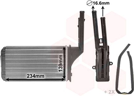VAN WEZEL  40006049 Wärmetauscher, Innenraumheizung Kunststoff, Aluminium