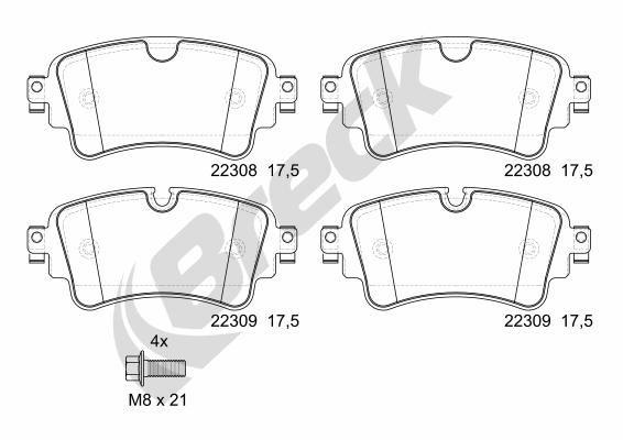 Brake Pads 22308 00 702 00 BRECK 22308 00 702 00 original quality
