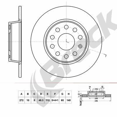 BRECK  BR 071 SA100 Bremsscheibe Bremsscheibendicke: 10,00mm, Lochanzahl: 9, Ø: 272,000mm, Ø: 272,000mm