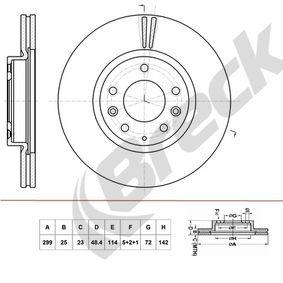 Bremsscheibe Bremsscheibendicke: 25mm, Lochanzahl: 5+2+1, Ø: 299mm mit OEM-Nummer G33Y3325X