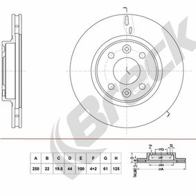 Brake Disc Brake Disc Thickness: 22,00mm, Num. of holes: 4+2, Ø: 258,000mm, Ø: 258,000mm with OEM Number 40 206 22 12R