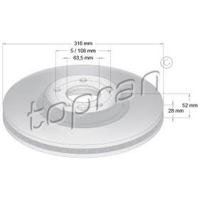 Bremsscheibe Bremsscheibendicke: 28mm, Felge: 5-loch, Ø: 316mm mit OEM-Nummer 138 0046