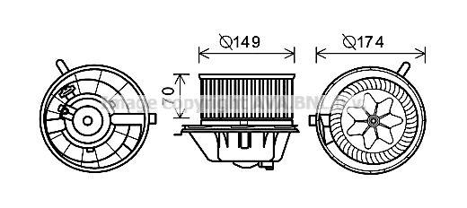 PRASCO  VN8342 Electric Motor, interior blower