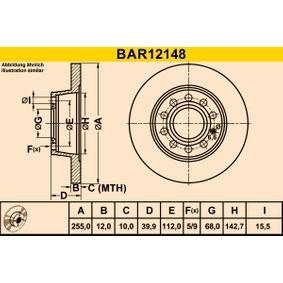 Bremsscheibe Bremsscheibendicke: 12,0mm, Lochanzahl: 5, Ø: 255,0mm mit OEM-Nummer 8E0 615 601D