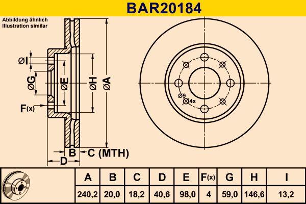 Barum  BAR20184 Bremsscheibe Bremsscheibendicke: 20,0mm, Lochanzahl: 4, Ø: 240,2mm